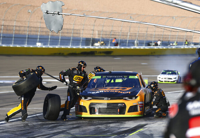 Kurt Busch pits during a NASCAR Cup Series auto race at the Las Vegas Motor Speedway on Sunday, Sept. 15, 2019. (AP Photo/Chase Stevens)