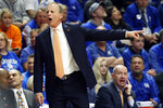 Tennessee head coach Rick Barnes directs his team during the first half of an NCAA college basketball game against Kentucky, Tuesday, March 3, 2020, in Lexington, Ky. (AP Photo/James Crisp)