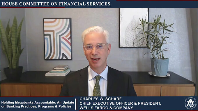 This image from video provided by the House Financial Services Committee shows Wells Fargo CEO Charles Scharf testifying virtually to the House Financial Services Committee Thursday, May 27, 2021. (House Financial Services Committee via AP)