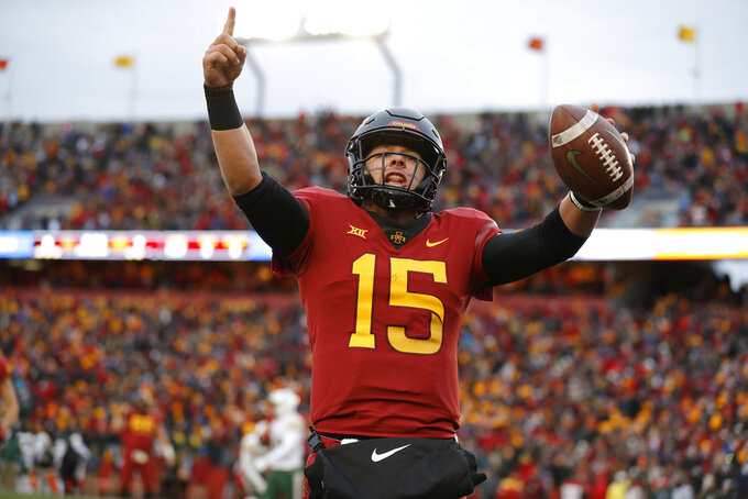 Iowa State quarterback Brock Purdy celebrates his touchdown run during the first half of an NCAA college football game against Baylor, Saturday, Nov. 10, 2018, in Ames. (AP Photo/Matthew Putney)