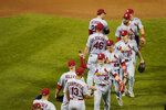 St. Louis Cardinals' Harrison Bader (48) celebrates with teammates after a baseball game against the New York Mets Wednesday, Sept. 15, 2021, in New York. The Cardinals won 11-4. (AP Photo/Frank Franklin II)