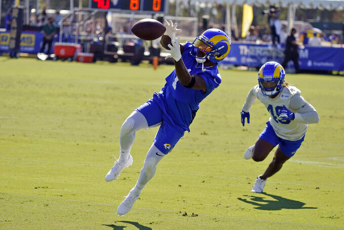 Los Angeles Rams wide receiver DeSean Jackson makes a catch during an NFL football training camp practice Wednesday, July 28, 2021, in Irvine, Calif. (AP Photo/Marcio Jose Sanchez)