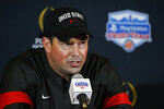 Ohio State coach Ryan Day speaks during a news conference after Clemson's 29-23 win in the Fiesta Bowl NCAA college football playoff semifinal Saturday, Dec. 28, 2019, in Glendale, Ariz. (AP Photo/Ross D. Franklin)
