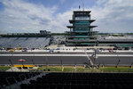 Josef Newgarden drives down the main straight-a-way during a practice session for the Indianapolis 500 auto race at Indianapolis Motor Speedway, Friday, Aug. 14, 2020, in Indianapolis. (AP Photo/Darron Cummings)