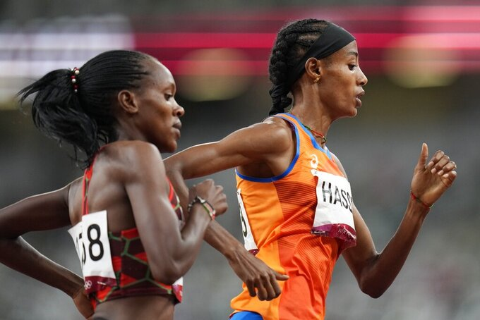 Sifan Hassan, of Netherlands, competes in the final of the women's 1,500-meters at the 2020 Summer Olympics, Friday, Aug. 6, 2021, in Tokyo. (AP Photo/Petr David Josek)
