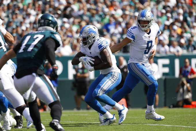 Detroit Lions' Kerryon Johnson runs for a touchdown during the first half of an NFL football game against the Philadelphia Eagles, Sunday, Sept. 22, 2019, in Philadelphia. (AP Photo/Michael Perez)