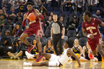 Boston College guard Jared Hamilton (3) fouls California guard Joel Brown (1) while attempting to steal the ball during the second half of an NCAA college basketball game on Saturday, Dec. 21, 2019, in San Francisco. (AP Photo/D. Ross Cameron)