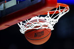 A ball drops through the net during the Minnesota practice at the NCAA men's college basketball tournament, Wednesday, March 20, 2019, in Des Moines, Iowa. Minnesota plays Louisville on Thursday. (AP Photo/Charlie Neibergall)