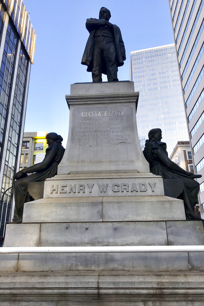 Some Georgia State University students are demanding that Atlanta's mayor remove a prominent statue of Henry Grady from downtown Grady was a newspaper editor who advocate, seen Wednesday, Dec. 4, 2019, in Atlanta. Grady was a newspaper editor who advocated for a