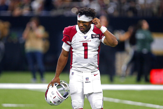 Arizona Cardinals quarterback Kyler Murray (1) walks off the field after being sacked in the second half of an NFL football game against the Arizona Cardinals in New Orleans, Sunday, Oct. 27, 2019. The Saints won 31-9. (AP Photo/Butch Dill)
