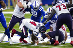 Houston Texans quarterback Deshaun Watson (4) fumbles the ball in the first half of an NFL football game against the Indianapolis Colts in Indianapolis, Sunday, Dec. 20, 2020. The Colts recovered. (AP Photo/Darron Cummings)