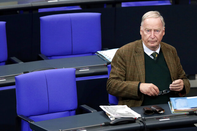 "FILE-In this Sept. 27, 2018 file photo file photo Alexander Gauland, faction leader of the Alternative for Germany party, AfD, attends a debate of the German federal parliament, Bundestag, at the Reichstag building in Berlin, Germany. Parliament was asked to lift the immunity of Alexander Gauland, the co-leader of the Alternative for Germany party, to allow for ""search and seizure decisions ordered by a court"" to be carried out. (AP Photo/Michael Sohn)"