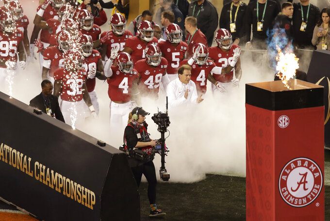 Alabama is introduced before the NCAA college football playoff championship game against Clemson Monday, Jan. 7, 2019, in Santa Clara, Calif. (AP Photo/Jeff Chiu)