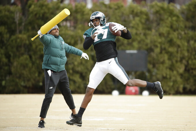 Philadelphia Eagles wide receiver Alshon Jeffery catches a pass at the NFL football team's practice facility in Philadelphia, Thursday, Dec. 5, 2019. (AP Photo/Matt Rourke)