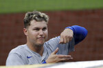 Los Angeles Dodgers right fielder Joc Pederson gestures above the dugout during the fifth inning of a baseball game against the Los Angeles Dodgers, Monday, Aug. 3, 2020, in San Diego. (AP Photo/Gregory Bull)