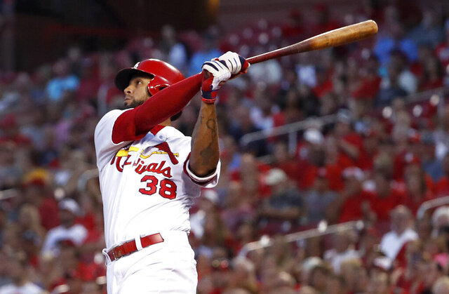FILE - In this Aug. 28, 2018, file photo, St. Louis Cardinals' Jose Martinez watches his two-run home run during the first inning of a baseball game against the Pittsburgh Pirates in St. Louis. The Tampa Bay Rays have acquired Martinez from St. Louis in a trade that sends left-hander Matthew Liberatore, one of the club's top minor league pitching prospects, to the Cardinals. (AP Photo/Jeff Roberson)