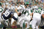 New York Jets quarterback Sam Darnold scrambles during the first half of an NFL football game against the Dallas Cowboys, Sunday, Oct. 13, 2019, in East Rutherford, N.J. (AP Photo/Adam Hunger)