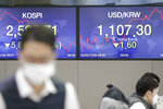 The screens showing the Korea Composite Stock Price Index (KOSPI), left, and the foreign exchange rate between U.S. dollar and South Korean won are seen at the foreign exchange dealing room in Seoul, South Korea, Thursday, Nov. 26, 2020. Asian shares were mixed Thursday, after Wall Street took a pause from the optimism underlined in a record-setting climb earlier in the week. (AP Photo/Lee Jin-man)