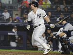 New York Yankees' Luke Voit watches his RBI single during the fifth inning of the team's baseball game against the Tampa Bay Rays Tuesday, June 18, 2019, in New York. (AP Photo/Frank Franklin II)