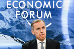 Mark Carney,l Govenor Bank of England attends a session during the annual meeting of the World Economic Forum in Davos, Switzerland, Thursday, Jan. 24, 2019. (AP Photo/Markus Schreiber)