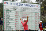 Gary Woodland celebrates after winning the U.S. Open Championship golf tournament Sunday, June 16, 2019, in Pebble Beach, Calif. (AP Photo/Matt York)
