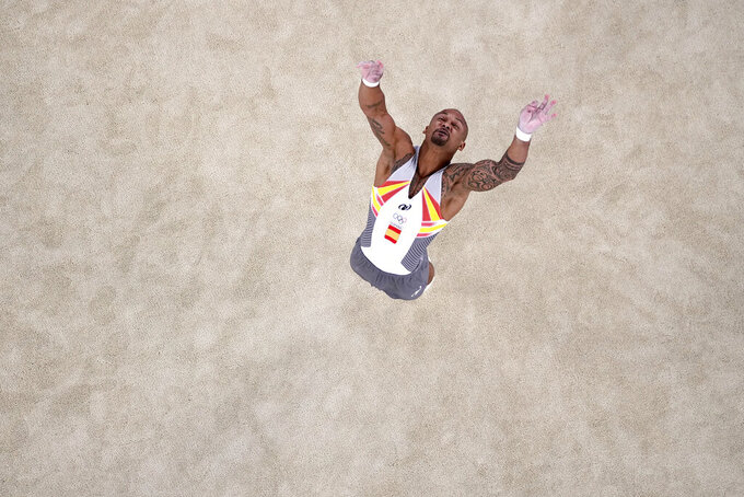 Rayderley Zapata, of Spain, performs on the floor during the artistic gymnastics men's final at the 2020 Summer Olympics, Sunday, Aug. 1, 2021, in Tokyo, Japan. (AP Photo/Jeff Roberson)