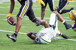 North Texas running back Isaiah Johnson (23) fumbles during the third quarter of an NCAA college football game against Missouri, Saturday, Oct. 9, 2021, in Columbia, Mo. (AP Photo/L.G. Patterson)