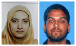 FILE - This undated combination of file photos provided by the FBI, left, and the California Department of Motor Vehicles shows San Bernardino shooting suspects Tashfeen Malik, left, and Syed Farook. Enrique Marquez Jr., who bought two rifles that the husband and wife used to kill 14 people in a 2015 California terror attack, was sentenced Friday, Oct. 23, 2020, to 20 years in prison.  (FBI, left, and California Department of Motor Vehicles via AP, File)