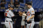 Baltimore Orioles pitcher John Means (67) celebrates with catcher Pedro Severino after closing out the Tampa Bay Rays during the 11th inning of a baseball game Thursday, April 18, 2019, in St. Petersburg, Fla. The Orioles won 6-5. (AP Photo/Chris O'Meara)