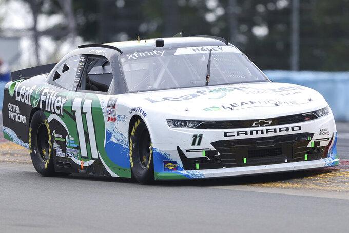 Justin Haley drives between Turn 1 and the Esses in the NASCAR Xfinity Series auto race at Watkins Glen International in Watkins Glen, N.Y., on Saturday, Aug. 7, 2021. (AP Photo/Joshua Bessex)