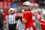 Ohio State quarterback Chris Chugunov drops back to pass against Maryland during the second half of an NCAA college football game, Saturday, Nov. 9, 2019, in Columbus, Ohio. Ohio State beat Maryland 73-14. (AP Photo/Jay LaPrete)