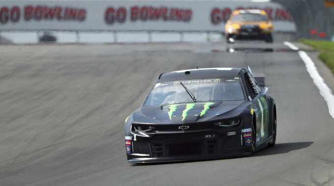 Kurt Busch (1) heads into Turn 1 during practice for the NASCAR Cup Series auto race at Watkins Glen International, Saturday, Aug. 3, 2019, in Watkins Glen, N.Y. (AP Photo/John Munson)
