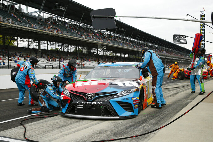 NASCAR driver Kyle Busch pits during the NASCAR Brickyard 400 auto race at the Indianapolis Motor Speedway, Sunday, Sept. 8, 2019, in Indianapolis. (AP Photo/Rob Baker)