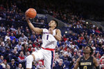 Gonzaga guard Admon Gilder (1) shoots in front of Alabama State guard DJ Heath (0) during the second half of an NCAA college basketball game in Spokane, Wash., Tuesday, Nov. 5, 2019. Gonzaga won 95-64. (AP Photo/Young Kwak)