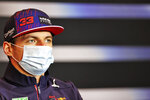 Red Bull driver Max Verstappen of the Netherlands attends a press conference ahead of Sunday's Emilia Romagna Formula One Grand Prix, at the Imola track, Italy, Friday, April 16, 2021. (Xpbimages/Pool via AP)