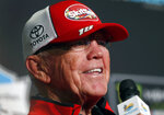 "FILE- In this March 10, 2019, file photo, Team owner Joe Gibbs answers questions after driver Kyle Busch wins the NASCAR Cup Series auto race at ISM Raceway, Sunday,, in Avondale, Ariz. Gibbs, already an NFL Hall of Famer, will be inducted into the NASCAR Hall of Fame alongside Tony Stewart and Bobby Labonte, two drivers who helped him build one of NASCAR's top teams while giving ""Coach Joe"" three of the organization's five titles. ( AP Photo/Ralph Freso, File)"