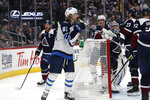 Winnipeg Jets left wing Kyle Connor reacts after scoring a goal against the Colorado Avalanche during the second period of an NHL hockey game Tuesday, Dec. 31, 2019, in Denver. (AP Photo/David Zalubowski)