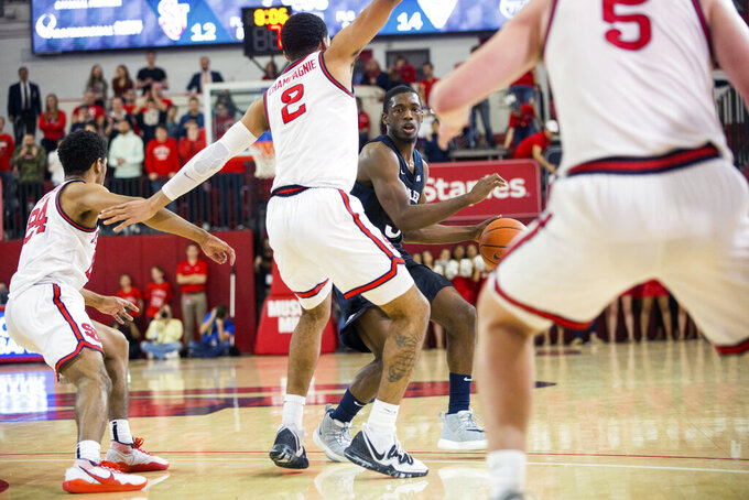 Butler guard Kamar Baldwin (3) looks to pass the ball during the first half of an NCAA college basketball game against St. John's, Tuesday, Dec. 31, 2019, in New York. (AP Photo/Julius Constantine Motal)