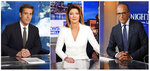 This combination photo shows network news anchors, from left,  David Muir on the set of