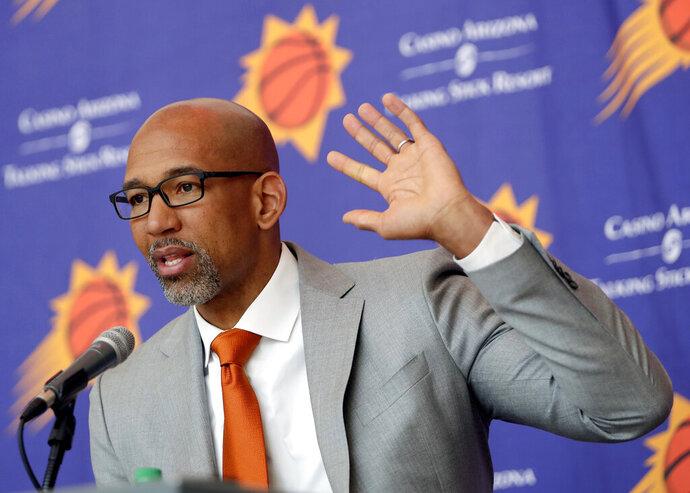 Phoenix Suns new NBA basketball head coach Monty Williams speaks at a news conference, Tuesday, May 21, 2019, in Phoenix. (AP Photo/Matt York)