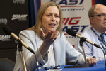 "FILE - Big East Conference Commissioner Val Ackerman speaks to reporters after the remaining NCAA college basketball games in the men's Big East Conference tournament were cancelled due to concerns about the coronavirus, at Madison Square Garden in New York, in this Thursday, March 12, 2020, file photo. Ackerman says she has heard concerns from athletic directors about ""a finite amount of resources"" as changes to college sports financing loom. A new AP survey of athletic directors and conversations with ADs and conference commissioners during March Madness show some have questions about what would happen to women's college sports under proposals that would put more money in the pockets of some athletes. (AP Photo/Mary Altaffer, File)"