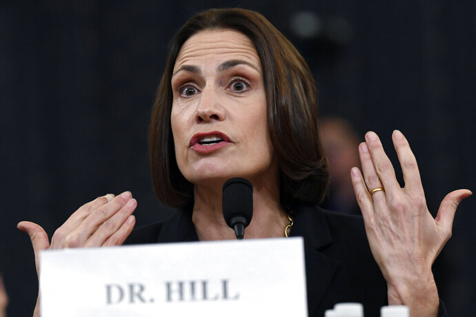 FILE - In this Nov. 21, 2019 file photo, former White House national security aide Fiona Hill testifies before the House Intelligence Committee on Capitol Hill in Washington.  Hill, a key witness in President Donald Trump's impeachment inquiry, is going to be sharing her views about the future of a polarized America. The New York-based Houghton Mifflin Harcourt Books & Media announced on Wednesday that it has acquired a book by Hill, former deputy assistant to the president and senior director for European and Russian affairs on the National Security Council at the White House. (AP Photo/Susan Walsh)