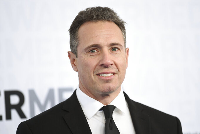 FILE - This May 15, 2019 file photo shows CNN news anchor Chris Cuomo at the WarnerMedia Upfront in New York. Shelley Ross, a veteran TV news executive, said in an opinion piece in the New York Times that CNN anchor Chris Cuomo sexually harassed her by squeezing her buttocks at a party in 2005. (Photo by Evan Agostini/Invision/AP, File)