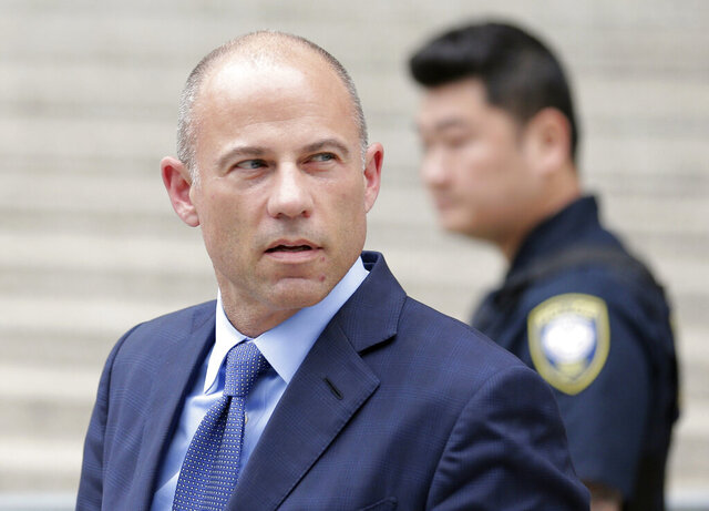 FILE - In this May 28, 2019, file photo, attorney Michael Avenatti leaves a courthouse in New York, after pleading not guilty to charges that he defrauded his most famous client, porn star Stormy Daniels. Avenatti's attorney announced on Tuesday, Feb. 25, 2020, that Daniels' credibility will be the central issue when his client goes on trial in April 2020. (AP Photo/Seth Wenig, File)