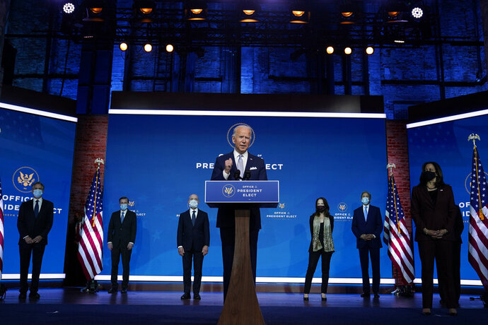 President-elect Joe Biden and Vice President-elect Kamala Harris introduce their nominees and appointees to key national security and foreign policy posts at The Queen theater, Tuesday, Nov. 24, 2020, in Wilmington, Del. (AP Photo/Carolyn Kaster)