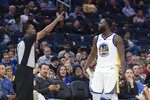Official Sean Wright, left, ejects Golden State Warriors forward Draymond Green in the second half of an NBA basketball game against the Utah Jazz in San Francisco, Monday, Nov. 11, 2019. The Jazz won 122-108. (AP Photo/John Hefti)
