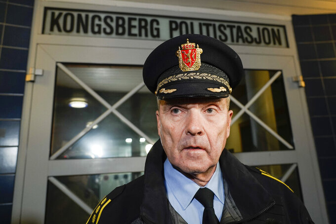 Police Chief Oeying Aas, head of the operations unit in the Buskerud police, speaks at a press conference after an attack in Kongsberg, Norway, Wednesday, Oct. 13, 2021. A man armed with a bow and arrows killed several people Wednesday near the Norwegian capital of Oslo before he was arrested, authorities said. (Terje Pedersen/NTB via AP)