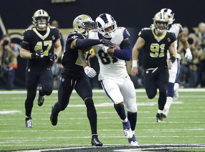 Los Angeles Rams' Gerald Everett catches a pass during the second half the NFL football NFC championship game against the New Orleans Saints, Sunday, Jan. 20, 2019, in New Orleans. (AP Photo/David J. Phillip)