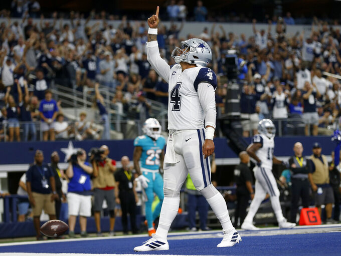 Dallas Cowboys quarterback Dak Prescott (4) celebrates his touchdown run against the Miami Dolphins in the second half of an NFL football game in Arlington, Texas, Sunday, Sept. 22, 2019. (AP Photo/Ron Jenkins)