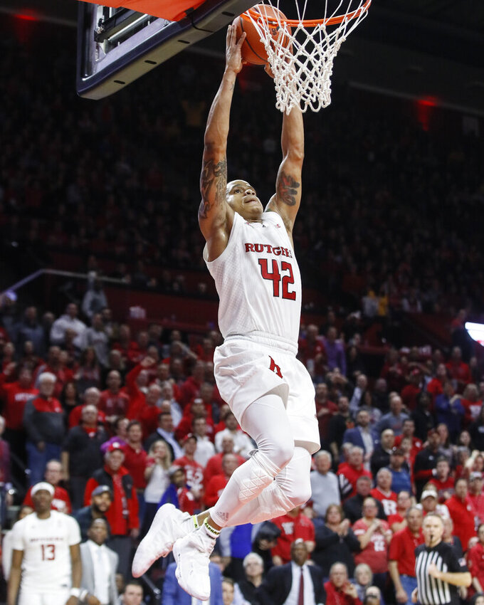 Rutgers' Jacob Young dunks during the second half of the team's NCAA college basketball game against Maryland, Tuesday, March 3, 2020, in Piscataway, N.J. (AP Photo/John Minchillo)